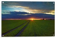 Penny Hill Farmland Sunset, Acrylic Print