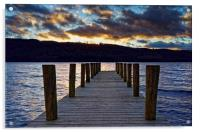 Windermere Boat Jetty Sunset                      , Acrylic Print