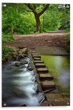 Porter Brook Stepping Stones & Falls              , Acrylic Print
