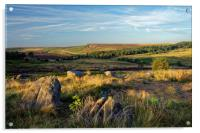 Burbage Rocks from Owler Tor                      , Acrylic Print