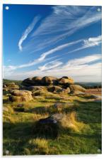 Owler Tor with Dramatic Sky                      , Acrylic Print