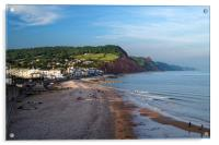 Sidmouth Seafront and Beach                     , Acrylic Print