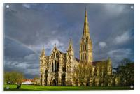 Salisbury Cathedral with Rainbow                  , Acrylic Print