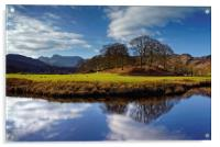 River Brathay Reflections                         , Acrylic Print