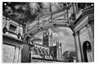 Bath Abbey and Arch in Mono                      , Acrylic Print