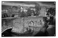 Medieval Exe Bridge in Mono                     , Acrylic Print