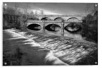 Norfolk Bridge and Burton Weir                    , Acrylic Print