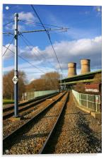 Tram Lines and Tinsley Cooling Towers, Acrylic Print