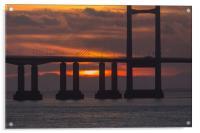 sunsetting under the bridge , Acrylic Print