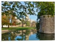 wells cathedral moat and bishopspalace, Acrylic Print