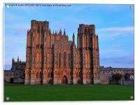 WINTER SUNSET ON WELLS CATHEDRAL, Acrylic Print