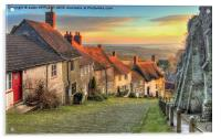 Winter Sunset Gold Hill Shaftesbury, Acrylic Print