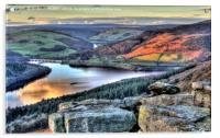 Last Light Over Ladybower Reservoir, Acrylic Print