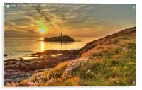 Godrevy Lighthouse Cornwall Sunset, Acrylic Print