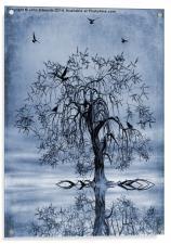 The Wishing Tree Cyanotype, Acrylic Print