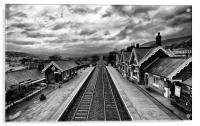 Settle Railway Station in Mono, Acrylic Print