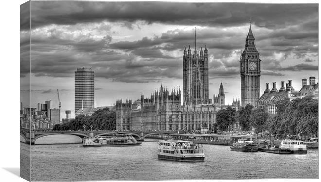 Sun Setting On Big Ben London Black And White Canvas Print