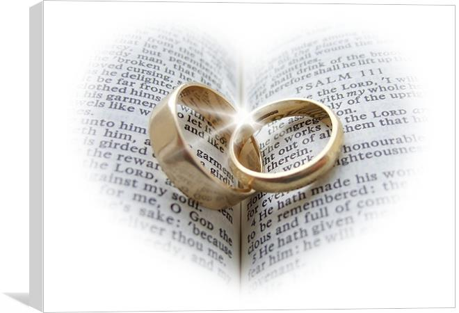 Wedding Ring Meaning Bible Wedding Rings On An Open Bible Canvas Print By Pete Holloway