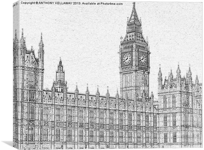 Big Ben Pencil Drawing Canvas Print By Anthony Kellaway