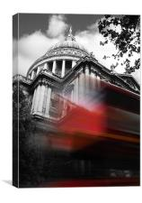 St Pauls Cathedral and a London Bus, Canvas Print