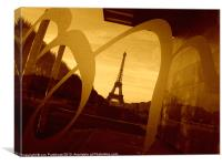 Eiffel Tower, Paris, in sepia., Canvas Print