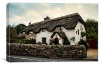 Country Cottage Thatched., Canvas Print