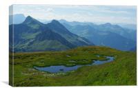 Mountain pond with a view near Furkajoch, Austria, Canvas Print