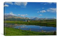 Montana ranch with Rockies, Canvas Print