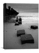 Sea Defences on Cromer Beach, Canvas Print