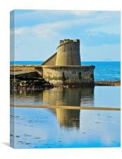 Reflective Ardrossan Watch Tower, Canvas Print