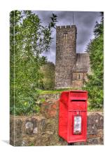 Red Post Box And Church, Canvas Print