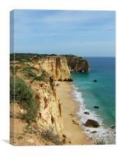Beach on the Algarve coastline, Canvas Print