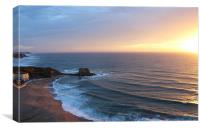 Sunset Beach In Portugal, Canvas Print