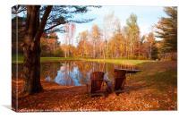 Autumn deck chairs, Canvas Print