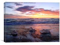 3 icebergs at sunrise, Canvas Print
