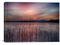 Sunset over Lake of Menteith, Canvas Print