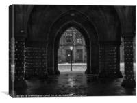 The Cloisters, Glasgow University B&W version, Canvas Print