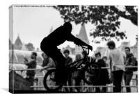 BMX Biker at the skateboard park, South bank , Canvas Print