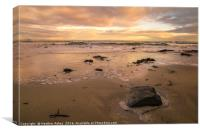Winter sunset at Seahouses, Canvas Print