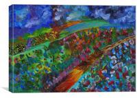 Rainbow flower fields, Canvas Print
