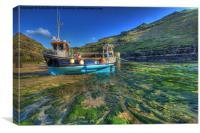 Boscastle blue boat green river, Canvas Print