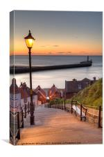 Whitby Steps - Orange Glow, Canvas Print