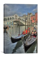 Venice Gondalos at Rialto Bridge, Canvas Print