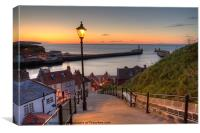 Whitby Steps - Orange Glow Landscape, Canvas Print