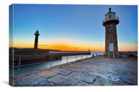 Whitby Lighthouse's, Canvas Print