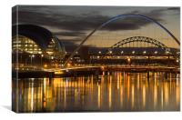 Dusk over the Tyne 2, Canvas Print