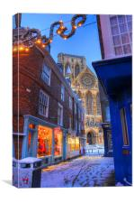 York Minster at Christmas, Petergate Street, Canvas Print