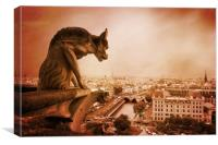 Paris Guardian - Notre Dame Gargoyle, Canvas Print