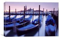 Moored Gondolas in Venice, Canvas Print