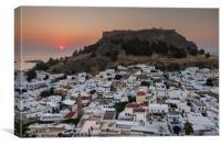 Sunrise over Lindos town, Rhodes, Greece, Canvas Print
